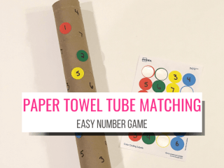 paper towel tube matching game for toddlers and preschool