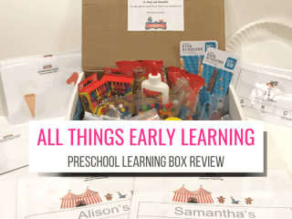 Text: All Things Early Learning Preschool Learning Box Review with picture of open box and activities contained within
