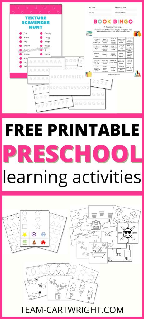 Free Printable Preschool Learning Activities