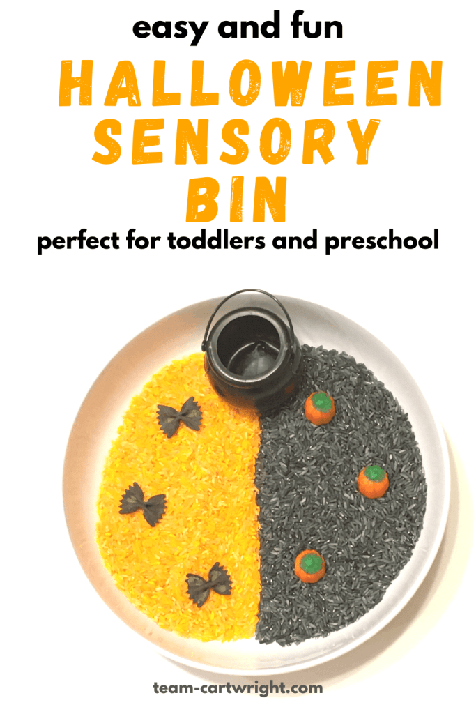 easy and fun Halloween Sensory Bin perfect for toddlers and preschool with picture of sensory bin full of orange and black rice