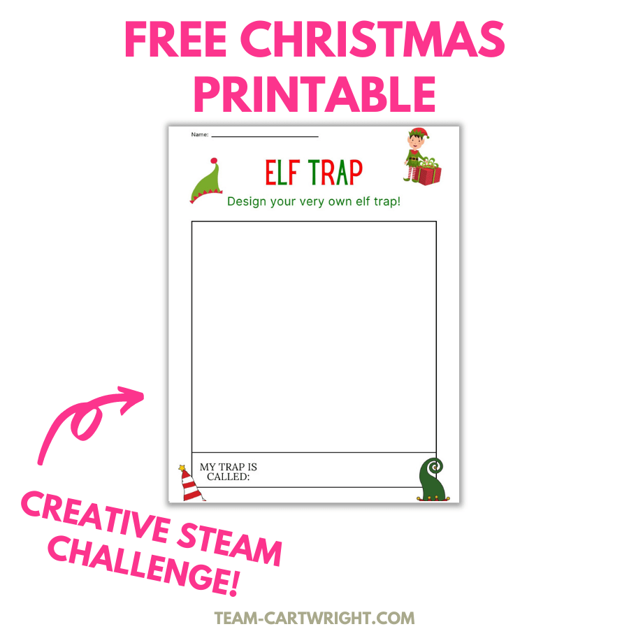 Free Christmas Printable with picture of worksheet for children to draw their own elf trap