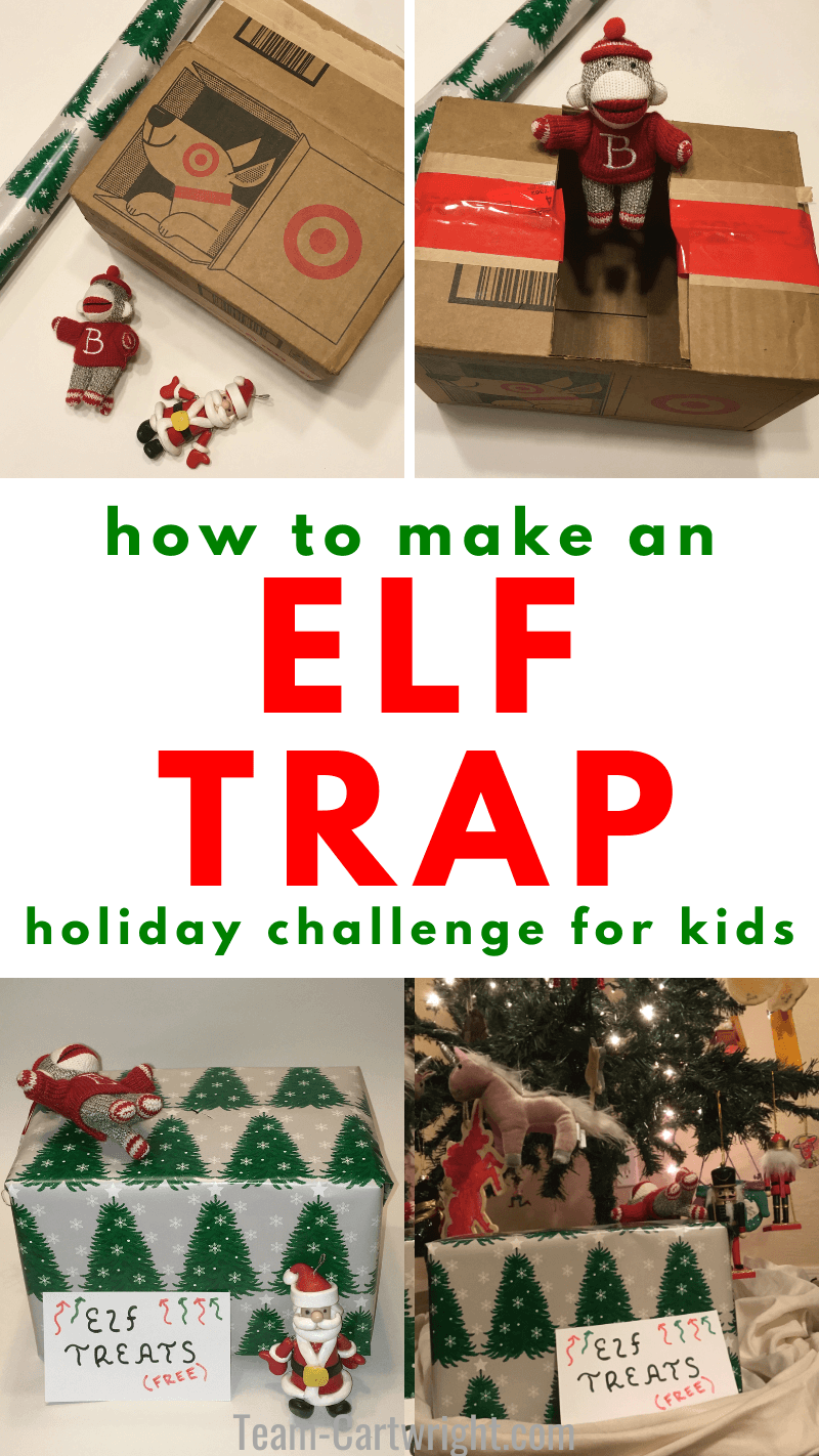 how to make an elf trap holiday challenge with kids with pictures of the steps needed to make this elf trap