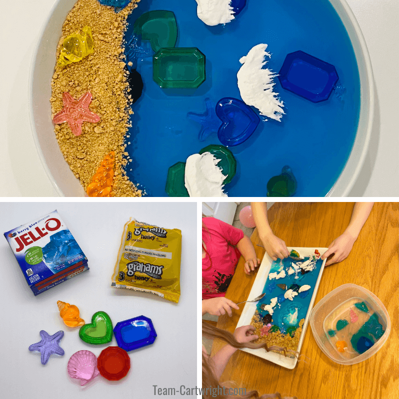 Top picture: Completed Ocean sensory bin with cracker crumb beach and whipped cream waves. Bottom left picture: Bin supplies of blue jello, graham crackers, and plastic jewels. Bottom right picture: 3 kids playing with sensory bin
