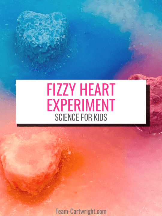 Text: Fizzy Heart Science Experiment, science for kids. Picture: 3 hearts, blue, purple, and red, fizzing and surrounded by the same color liquid