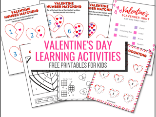 Valentine's Day Learning Activities Free Printables for Kids with pictures of the free printable activities
