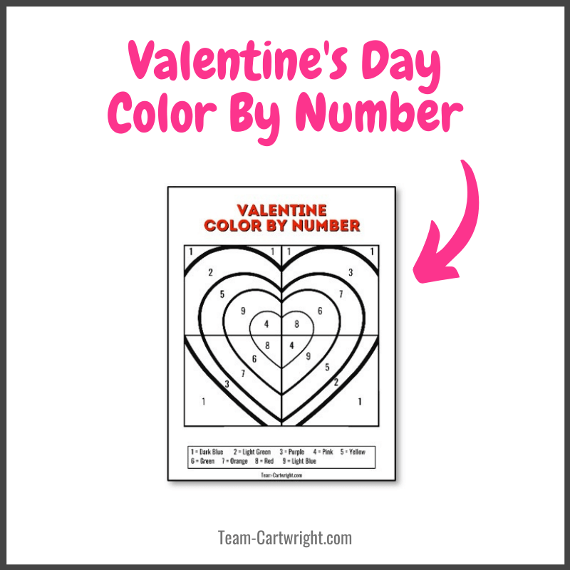 Valentine's Day Color by Number with picture of free printable