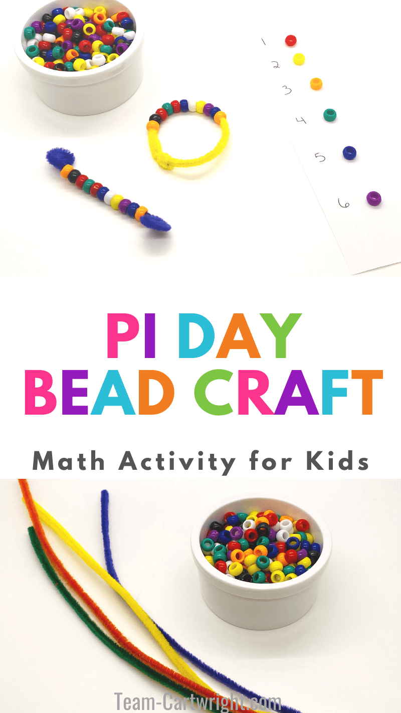 Pi Day Bead Craft Math Activity for Kids with picture of Pi Day bracelets and bookmarks