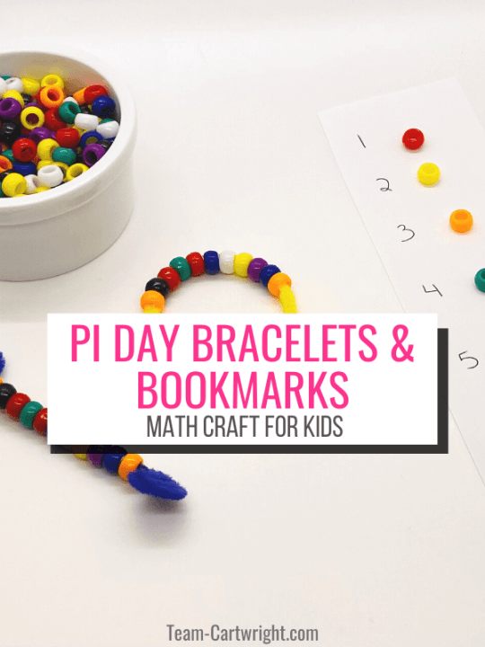 Pi Day Bracelets and Bookmarks Math Craft for Kids with picture of craft and beads