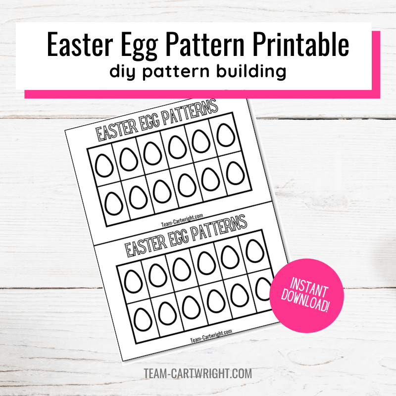 Easter Egg Pattern Printable DIY pattern building with picture of blank pattern printable