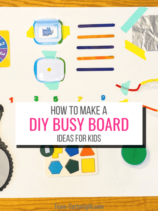 Text: How to make a DIY Busy Board Ideas for Kids. Picture: Homemade cardboard busy board for toddlers
