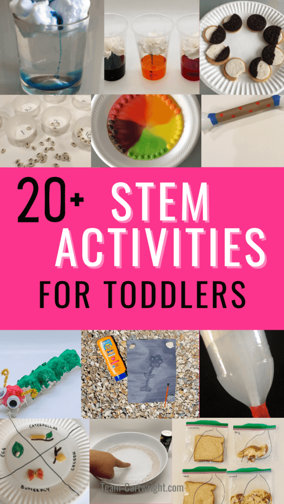 Text: 20+ STEM Activities for Toddlers. Pictures: 12 of the stem activities featured in this post including: color changing flowers, moon cookie phases, butterfly life cycle craft, tornado in a bottle, rain cloud experiment, bean counting game