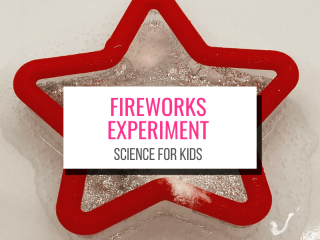 Text: Fireworks Experiment Science for Kids. Picture: Red star cookie cutter with chemical reaction creating bubbles with glitter bubbling up