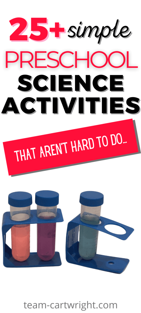 Text: 25+ Simple Preschool Science Activities That Aren't Hard To Do... Picture: 3 test tubes with blue lids in blue test tube holders from the dollar store. One tube has pink liquid, one purple, one blue for preschool STEM experiments.