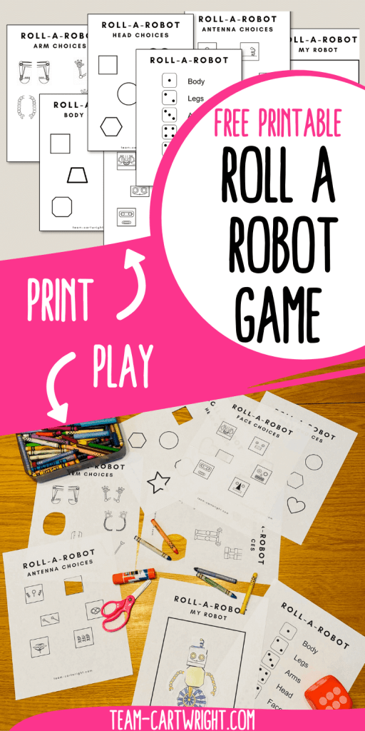 Text: Free Printable Roll a Robot Game; Top Picture: free printables for the roll a robot game, arrow pointing to them with the word Print; Bottom Picture: game being played on a table with dice, scissor, glue stick, crayons and robot built, arrow pointed at picture with word Play