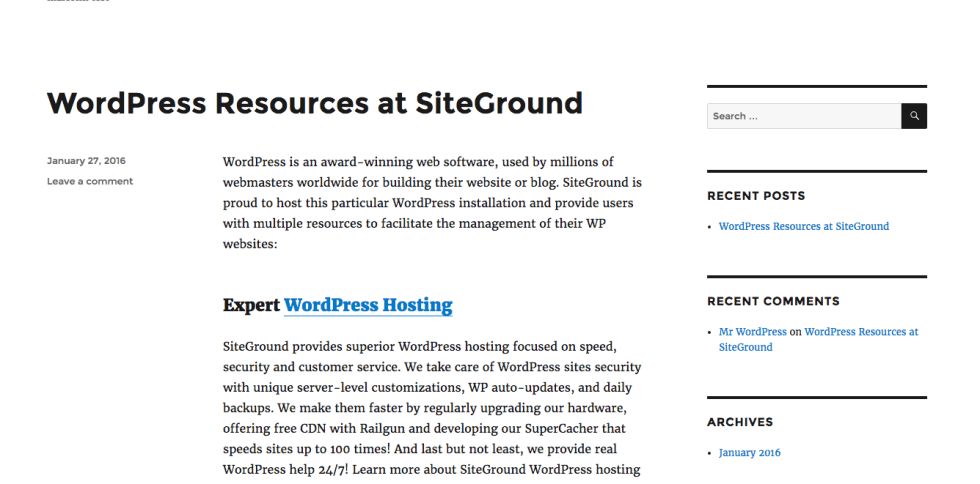 Barebone WordPress Site