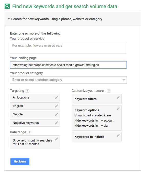 Google Keyword Planner - Competitor Keyword