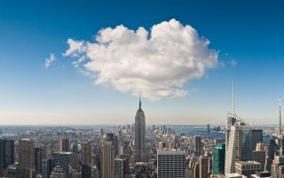 The city skyline with hosted Allstar Communications cloud
