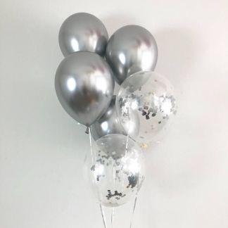 30 броя сребърни латексови балони