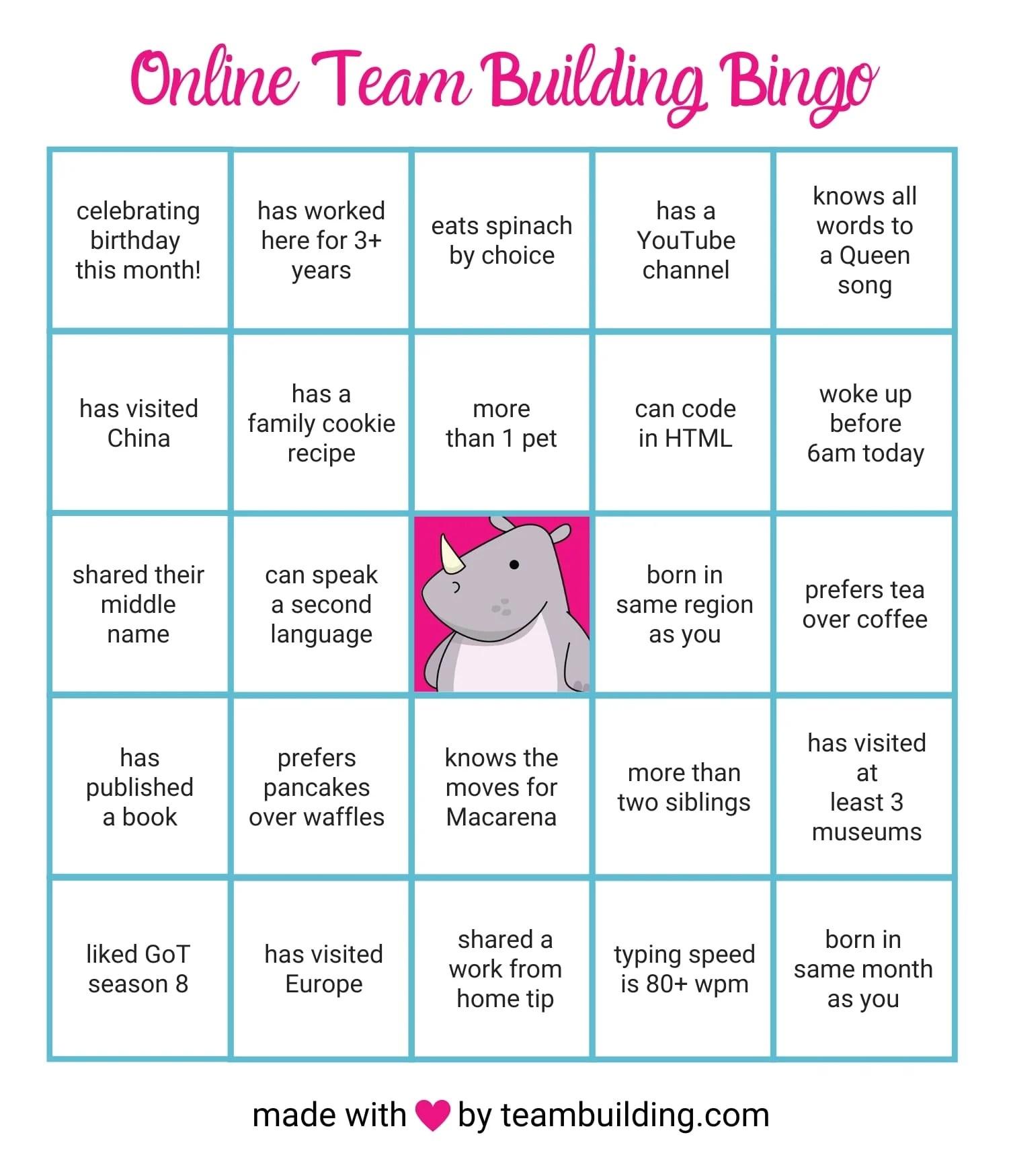 Online Team Building Bingo Rules Amp Free Game Board