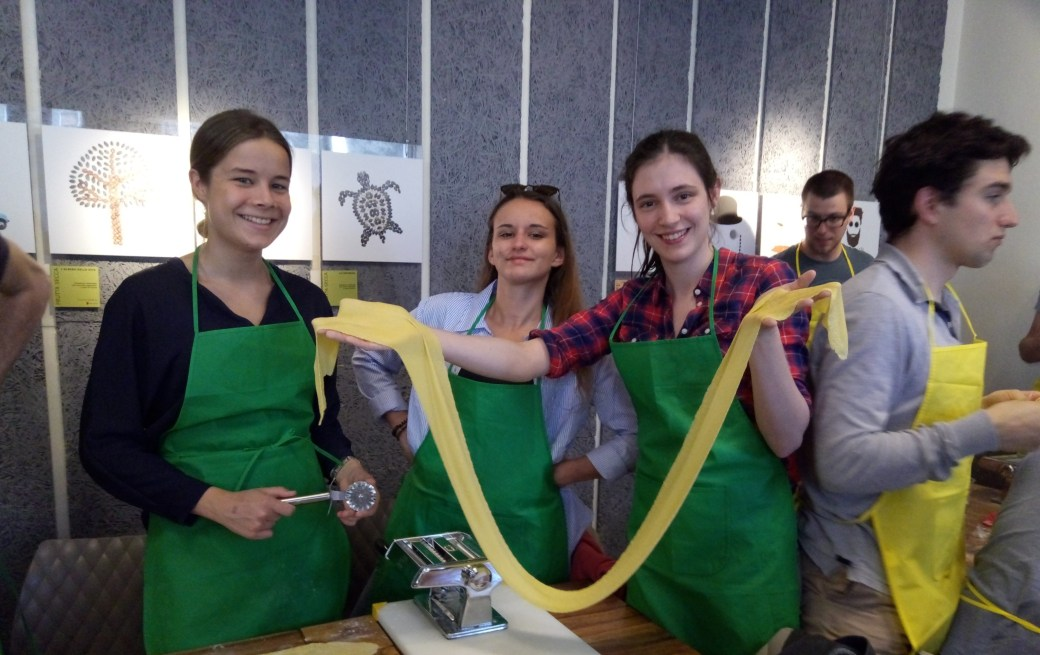 fresh eggpasta during the cooking class