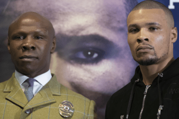 Chris Eubank Senior and Chris Eubank Junior pose stiffly at the final press conference for DeGale-Eubank.
