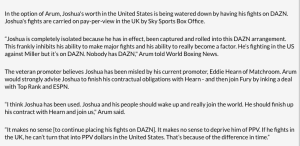 Bob Arum took a slap at DAZN and said Anthony Joshua should come to ESPN.