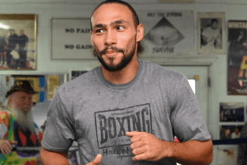 Thurman works out for media in FLA. Damon Gonzalez pic.