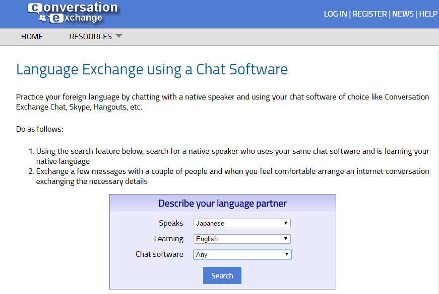Conversation Exchange screenshot - a website to find a japanese language exchange partner online