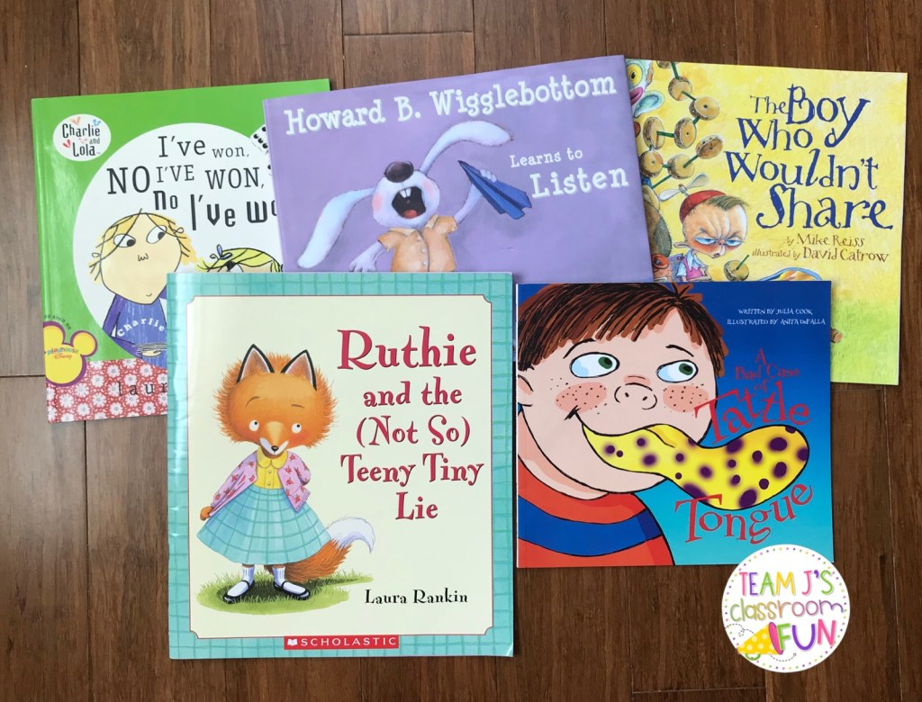 Picture of books - I've Won, Ruthie and the Not So Teeny Tiny Lie, Howard B. Wigglebottom Learns to Listen, The Boy Who Wouldn't Share, Tattle Tongue