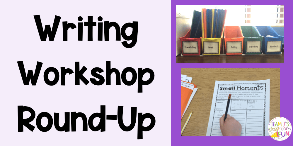 Blog header - picture of student writing and picture of Writing Workshop bins with the stages of writing.