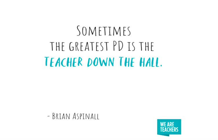 "Meme from We Are Teachers - ""Sometimes the greatest PD is the teacher down the hall."""