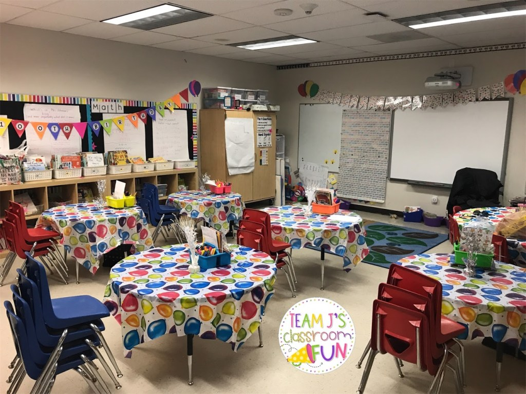 Birthday tablecloths and decorations in classroom.