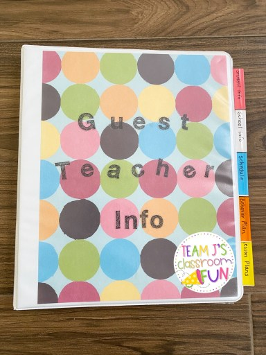 "Picture of Substitute Teacher Binder with cover that says ""Guest Teacher Binder"""