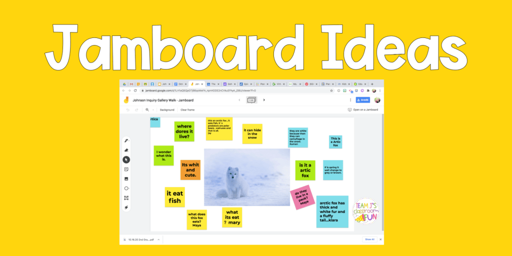 Blog header for Jamboard Ideas for your classroom. Includes photo of a virtual gallery walk