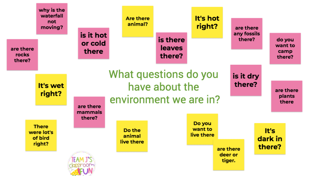 Jamboard picture of Environment Questions during an inquiry launch.
