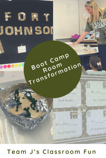 Pin image for Boot Camp Classroom Transformation - photos of math problems, boat testing, boat creation, and room decor.