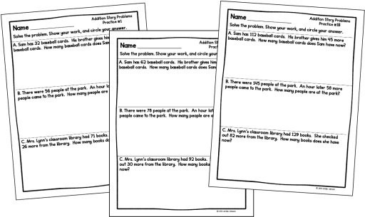 Photo of 3 addition word problem worksheets.