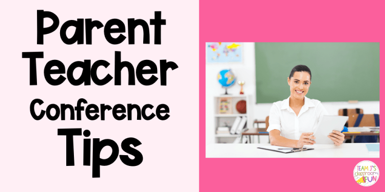 Header for Parent Teacher Conference blog with photo of a teacher sitting.