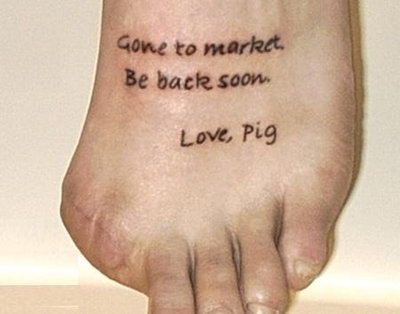 this little piggy went to market, funny foot tattoos