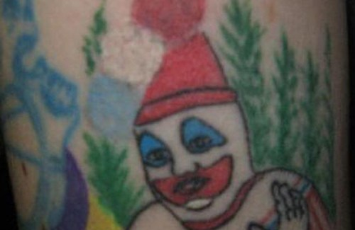 Clown Tattoos. Why I'm afraind of clowns, scary clowns, Worst Tattoos Ever, Funny Tattoos, Funny Pictures Ugliest Tattoos, Horrible, Stupid Tattoos