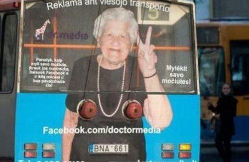 back of bus fund advertising placement, back of bus, grandma boobs