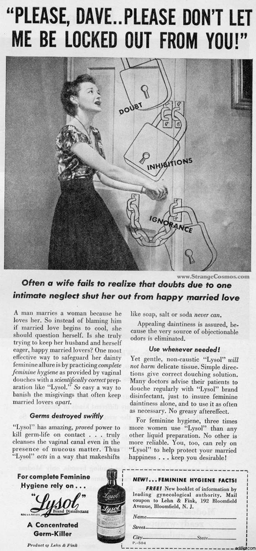 Lysol Feminine Hygiene  ~ The most sexists advertising ~