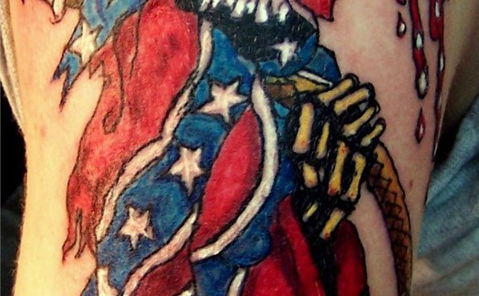 Redneck Confederate Flag Skull Funny Tattoos regrettable bad tattoos terrible awful ugliest tattoos wtf tattoos, horrible tattoos awkward family photos america's worst tattoos photos crazy tattoos people weird people stupid humor