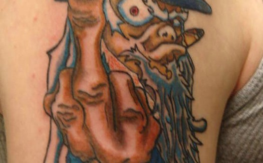 Uncle Sam Giving Finger Redneck Worst tattoos Bad Tattoos WTF Regrettable Tattoo Fails Stupid Horrible