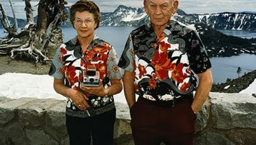 Old Couple in Alaska Matching Shirts Bad Family Photos Funny Family Pics Awkward Family Photos crazy weird bad tattoos worst tattoos stupid people Family portraits strange