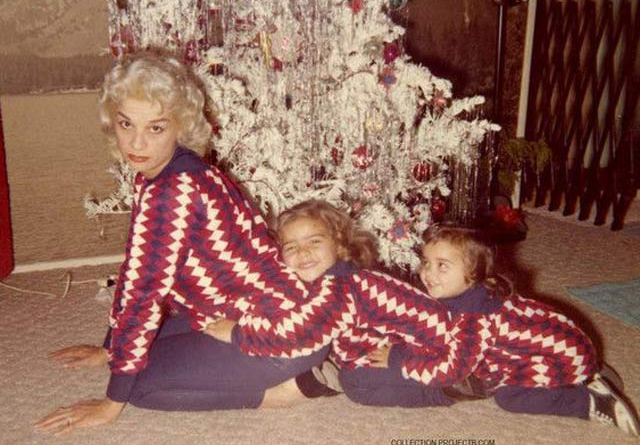 Vintage Snapshot: Sexy mom with kids in sweaters train ~ 26 Funny Christmas Photos