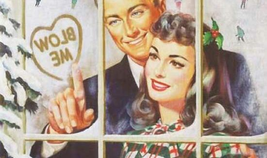 Vintage Illustration man writing blow me inside heart to woman on frosted window