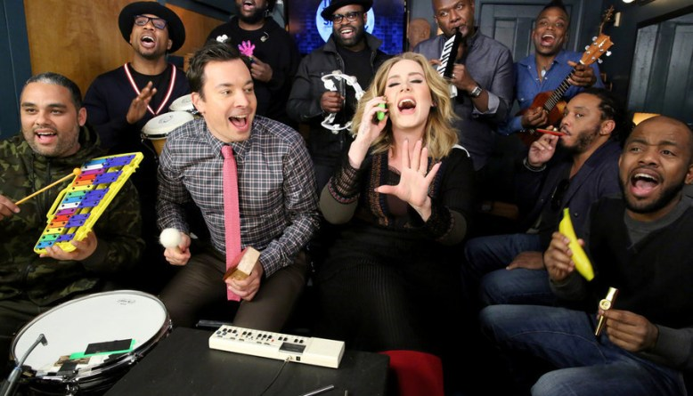 adele sings hello with classroom instruments on The Tonight Show with Jimmy Fallon & the Toots