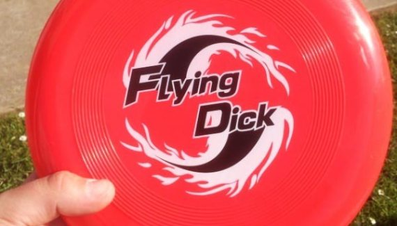 Frisbee with Flying Dick sticker ~ Funny You Had One Job Fails