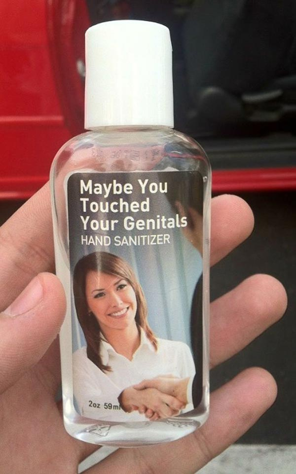 20 Hilarious Christmas Gifts for Under $20 ~ Hand sanitizer, maybe yu touched your genitals